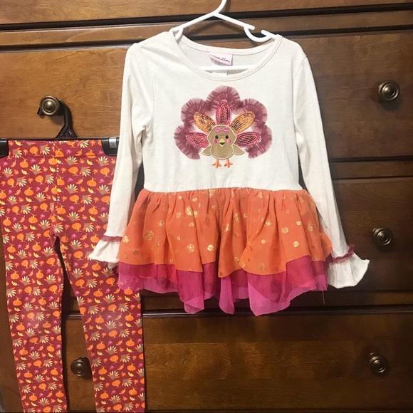 Little Lass ⚜️ 2 Piece Ruffled Turkey Outfit